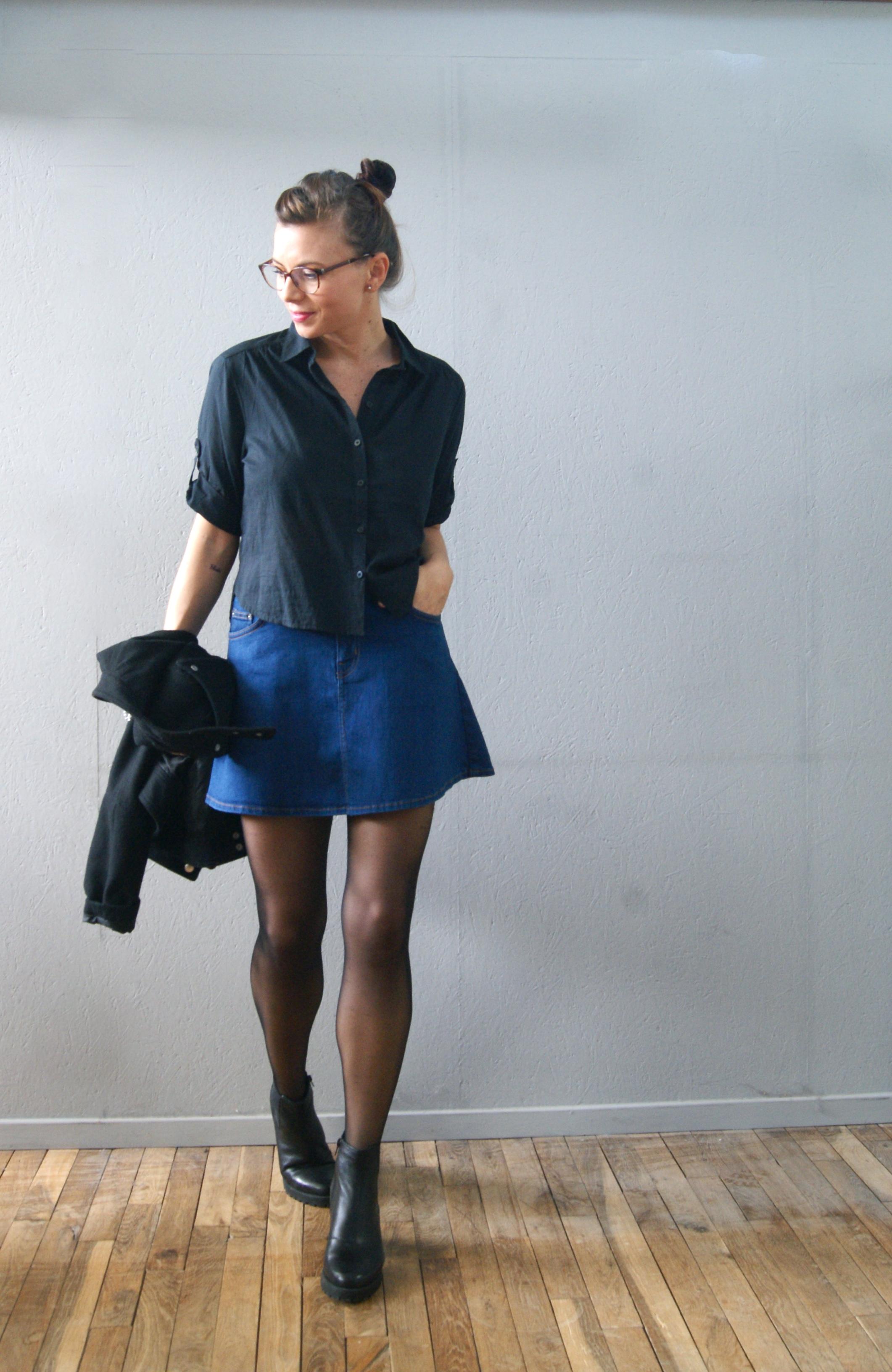la jupe en jean aur lie malau blog mode beaut lifestyle. Black Bedroom Furniture Sets. Home Design Ideas