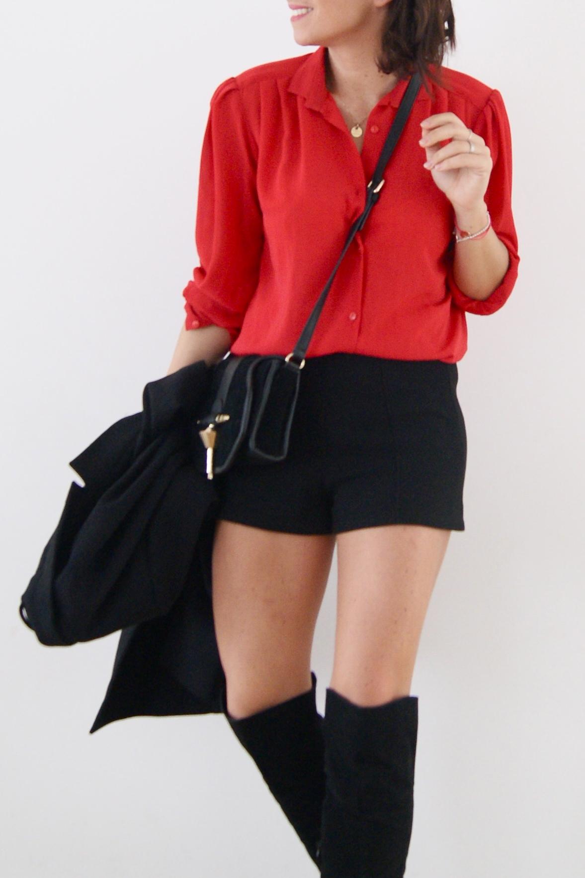 chemise vintage rouge