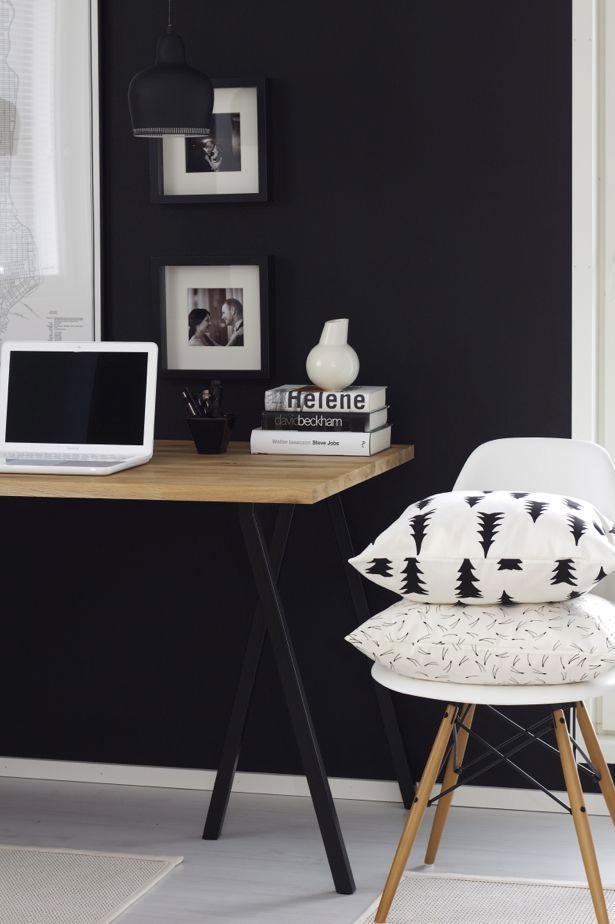 bureau bois pieds noirs