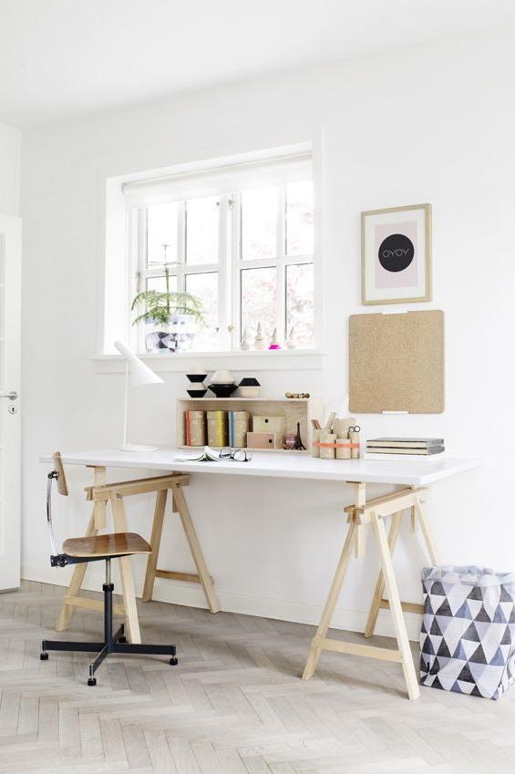 bureau blanc pieds bois