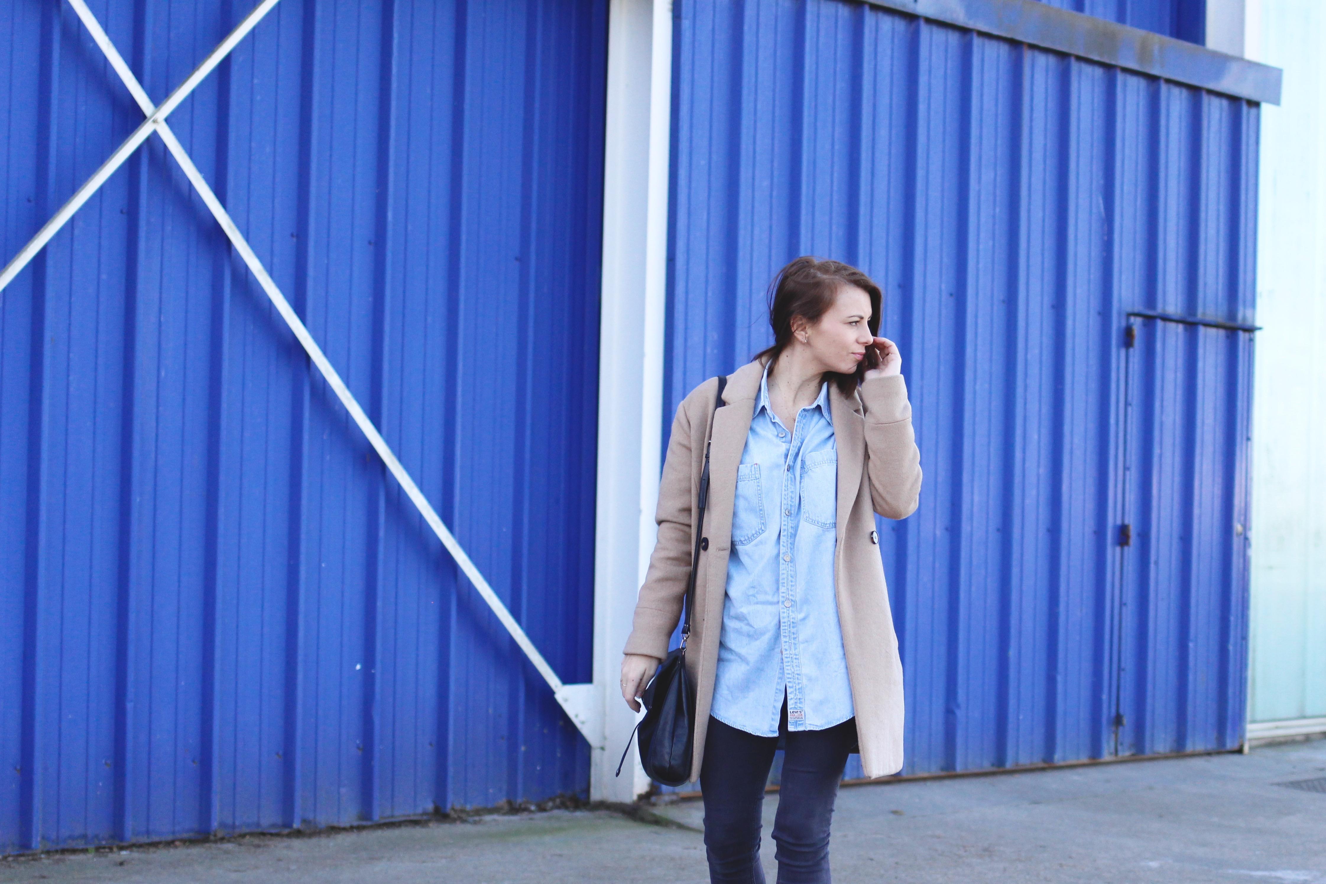 manteau beige long blog mode