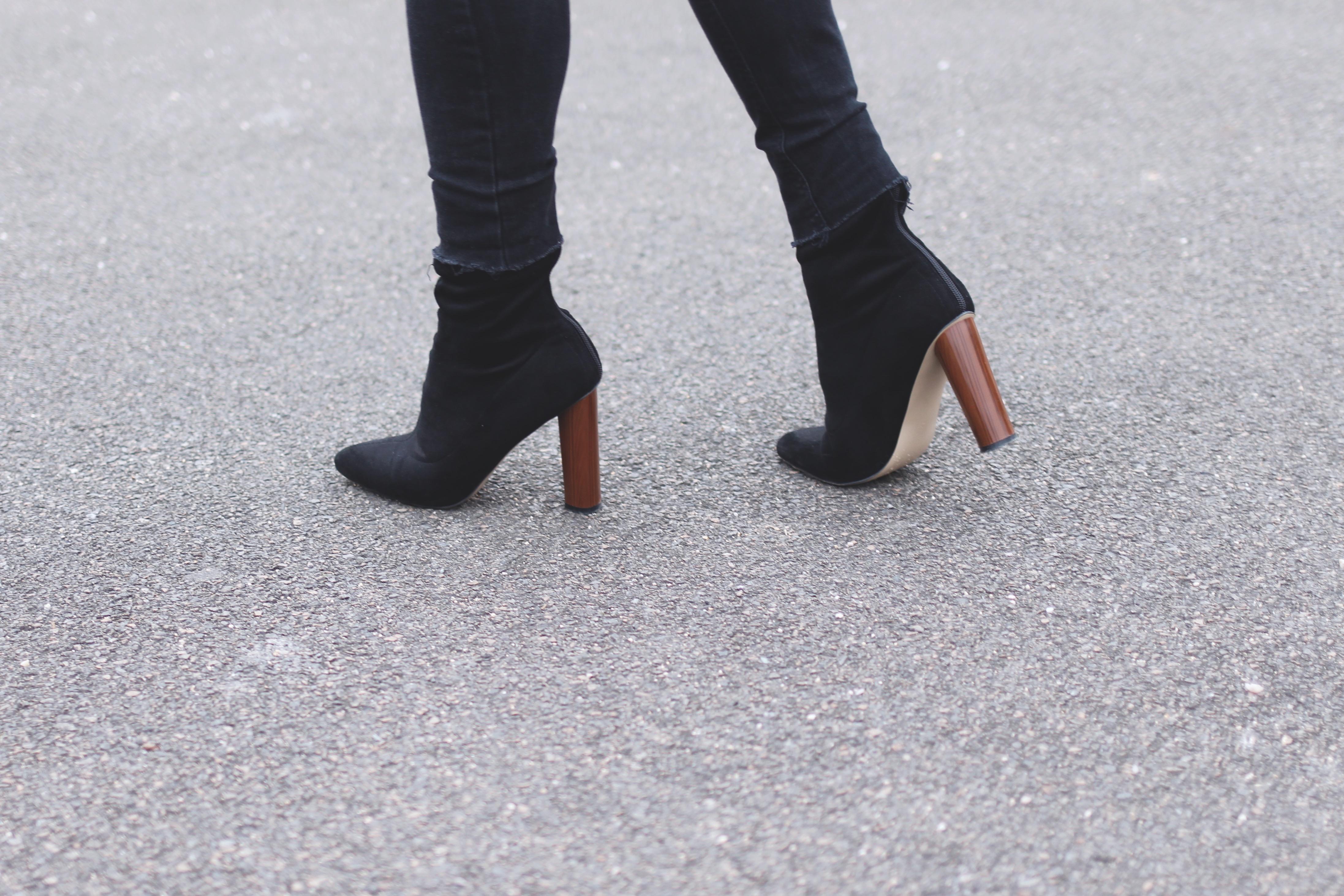 bottines à talons noires confortables blog mode