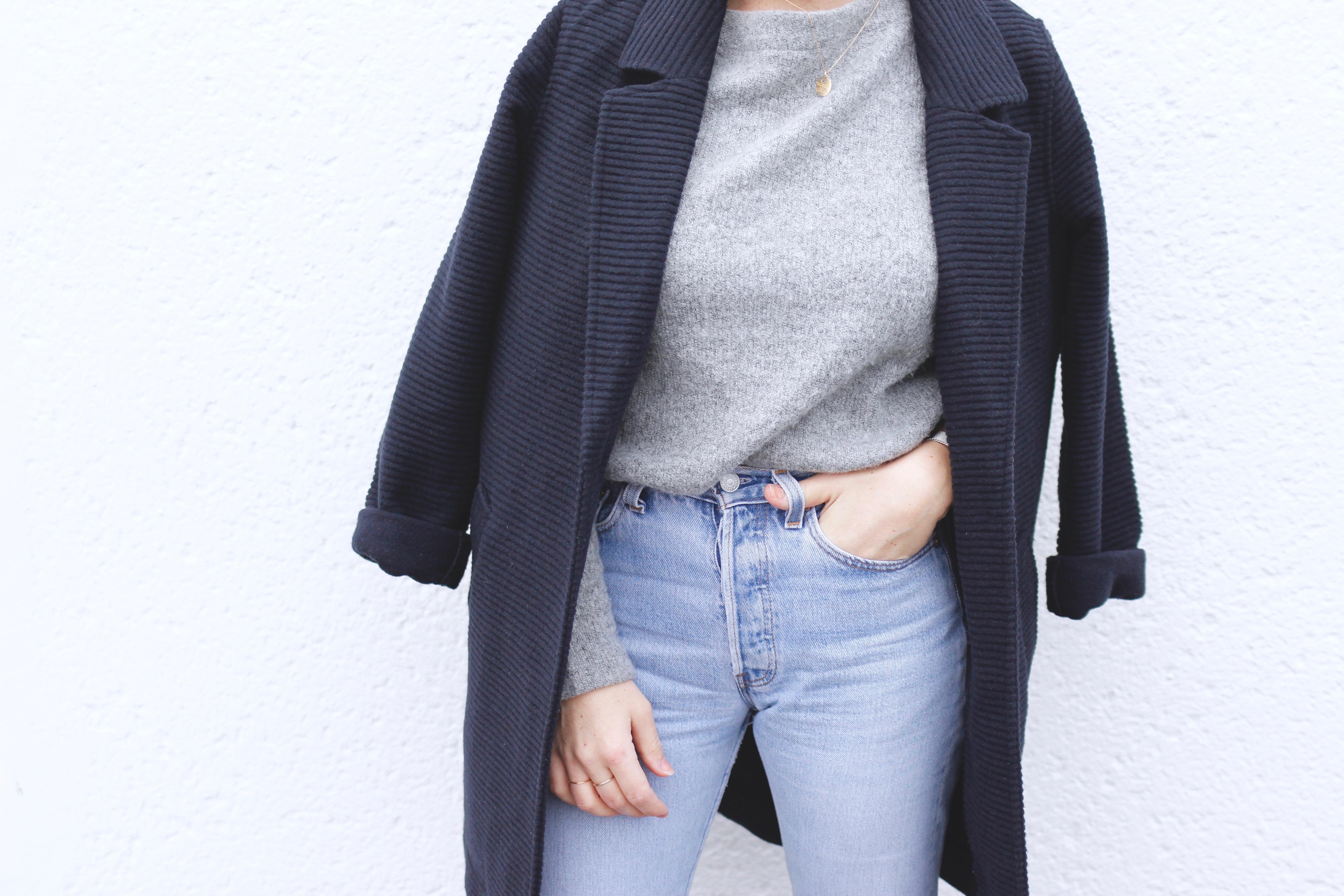 veste bleu marine blog mode